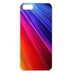 Multicolor Light Beam Line Rainbow Red Blue Orange Gold Purple Pink Apple Iphone 5 Seamless Case (white) by Mariart
