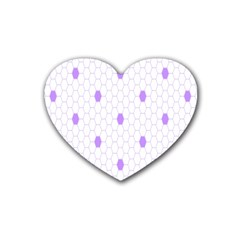 Purple White Hexagon Dots Rubber Coaster (heart)  by Mariart