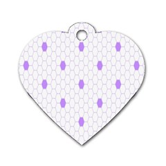 Purple White Hexagon Dots Dog Tag Heart (one Side) by Mariart