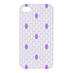 Purple White Hexagon Dots Apple Iphone 4/4s Hardshell Case by Mariart