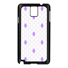 Purple White Hexagon Dots Samsung Galaxy Note 3 N9005 Case (black) by Mariart