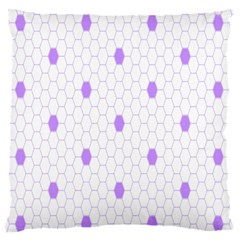 Purple White Hexagon Dots Large Flano Cushion Case (two Sides) by Mariart