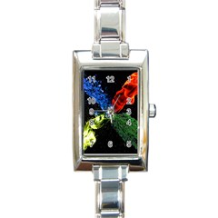 Perfect Amoled Screens Fire Water Leaf Sun Rectangle Italian Charm Watch by Mariart