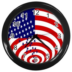 Star Line Hole Red Blue Wall Clocks (black) by Mariart