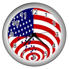 Star Line Hole Red Blue Wall Clocks (silver)  by Mariart