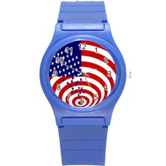 Star Line Hole Red Blue Round Plastic Sport Watch (s) by Mariart