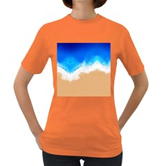 Sand Beach Water Sea Blue Brown Waves Wave Women s Dark T Shirt by Mariart