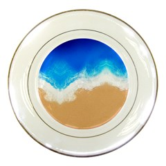 Sand Beach Water Sea Blue Brown Waves Wave Porcelain Plates by Mariart