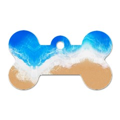 Sand Beach Water Sea Blue Brown Waves Wave Dog Tag Bone (one Side) by Mariart