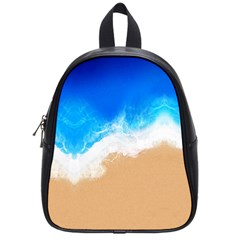Sand Beach Water Sea Blue Brown Waves Wave School Bags (small)  by Mariart