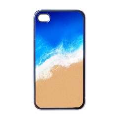 Sand Beach Water Sea Blue Brown Waves Wave Apple Iphone 4 Case (black) by Mariart
