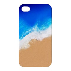 Sand Beach Water Sea Blue Brown Waves Wave Apple Iphone 4/4s Premium Hardshell Case by Mariart