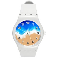 Sand Beach Water Sea Blue Brown Waves Wave Round Plastic Sport Watch (m) by Mariart