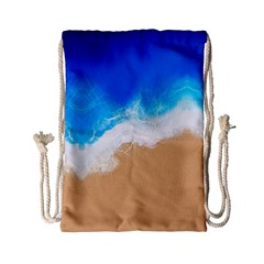 Sand Beach Water Sea Blue Brown Waves Wave Drawstring Bag (small) by Mariart