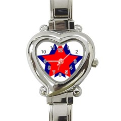 Stars Red Blue Heart Italian Charm Watch by Mariart