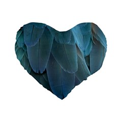 Feather Plumage Blue Parrot Standard 16  Premium Flano Heart Shape Cushions by Nexatart