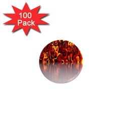 Effect Pattern Brush Red Orange 1  Mini Magnets (100 Pack)  by Nexatart