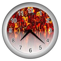 Effect Pattern Brush Red Orange Wall Clocks (silver)  by Nexatart