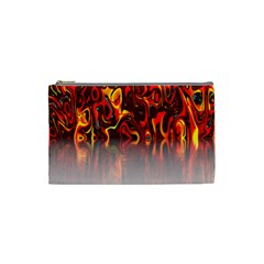Effect Pattern Brush Red Orange Cosmetic Bag (small)  by Nexatart