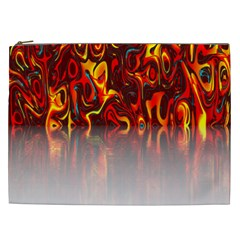 Effect Pattern Brush Red Orange Cosmetic Bag (xxl)  by Nexatart