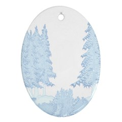 Winter Snow Trees Forest Ornament (oval) by Nexatart
