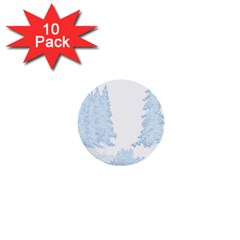 Winter Snow Trees Forest 1  Mini Buttons (10 Pack)  by Nexatart