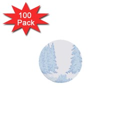 Winter Snow Trees Forest 1  Mini Buttons (100 Pack)  by Nexatart