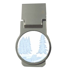 Winter Snow Trees Forest Money Clips (round)  by Nexatart