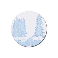 Winter Snow Trees Forest Rubber Round Coaster (4 Pack)  by Nexatart