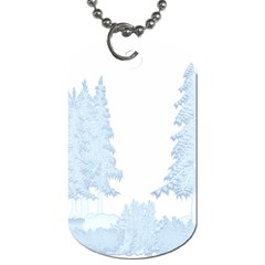 Winter Snow Trees Forest Dog Tag (two Sides) by Nexatart