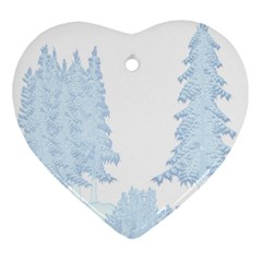 Winter Snow Trees Forest Heart Ornament (two Sides) by Nexatart