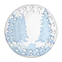Winter Snow Trees Forest Ornament (round Filigree) by Nexatart