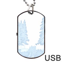 Winter Snow Trees Forest Dog Tag Usb Flash (two Sides) by Nexatart