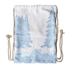 Winter Snow Trees Forest Drawstring Bag (large) by Nexatart