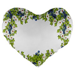 Birthday Card Flowers Daisies Ivy Large 19  Premium Heart Shape Cushions by Nexatart
