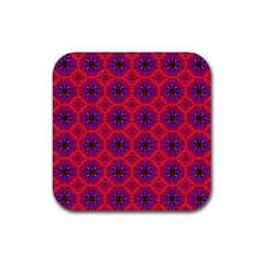 Retro Abstract Boho Unique Rubber Square Coaster (4 Pack)  by Nexatart