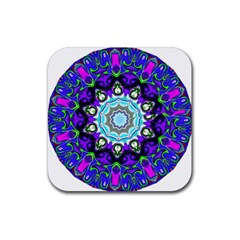 Graphic Isolated Mandela Colorful Rubber Square Coaster (4 Pack)  by Nexatart