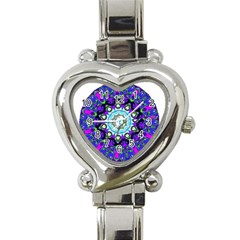 Graphic Isolated Mandela Colorful Heart Italian Charm Watch by Nexatart