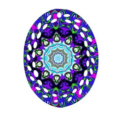 Graphic Isolated Mandela Colorful Oval Filigree Ornament (two Sides) by Nexatart