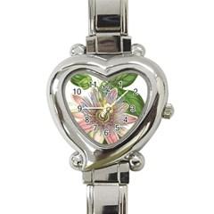 Passion Flower Flower Plant Blossom Heart Italian Charm Watch by Nexatart