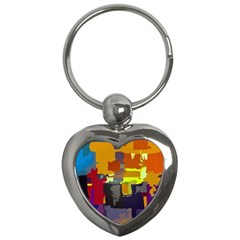 Abstract Vibrant Colour Key Chains (heart)  by Nexatart