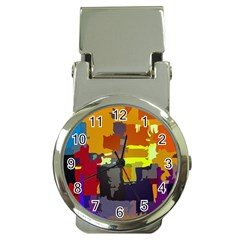 Abstract Vibrant Colour Money Clip Watches by Nexatart