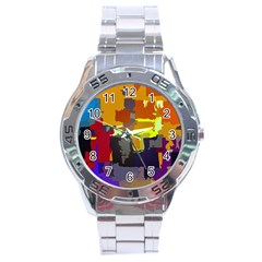 Abstract Vibrant Colour Stainless Steel Analogue Watch by Nexatart