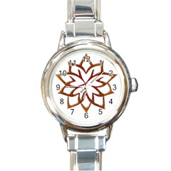 Abstract Shape Outline Floral Gold Round Italian Charm Watch by Nexatart