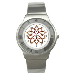 Abstract Shape Outline Floral Gold Stainless Steel Watch by Nexatart