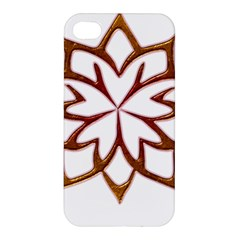 Abstract Shape Outline Floral Gold Apple Iphone 4/4s Hardshell Case by Nexatart