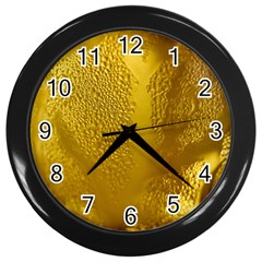 Beer Beverage Glass Yellow Cup Wall Clocks (black) by Nexatart