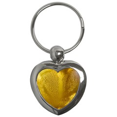 Beer Beverage Glass Yellow Cup Key Chains (heart)  by Nexatart