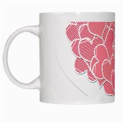 Heart Stripes Symbol Striped White Mugs by Nexatart