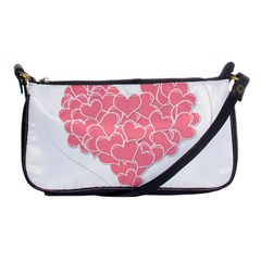 Heart Stripes Symbol Striped Shoulder Clutch Bags by Nexatart